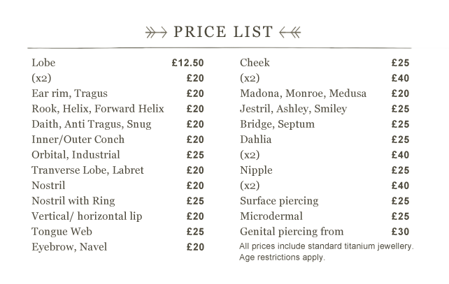 Nose piercing near me prices